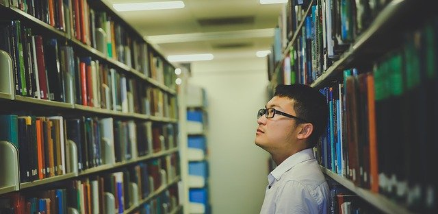A man in the library