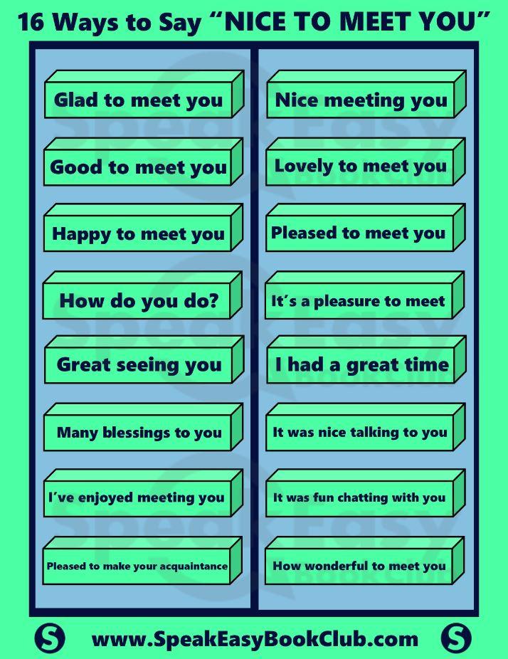 16 Ways to say nice to meet you